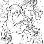 Раскраска Дед Мороз и Снегурочка подарками