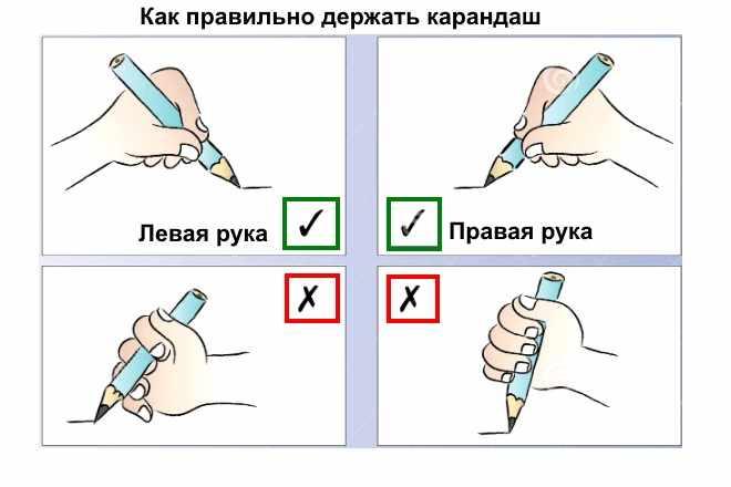Схема правильного захвата карандаша