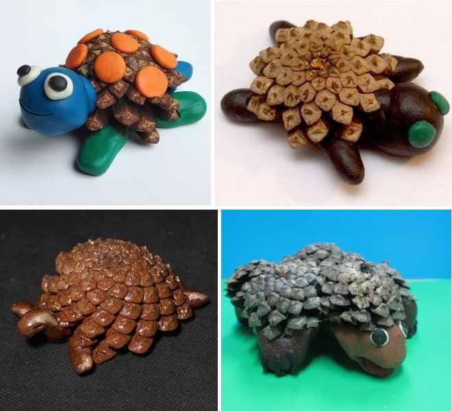 Черепахи из шишек