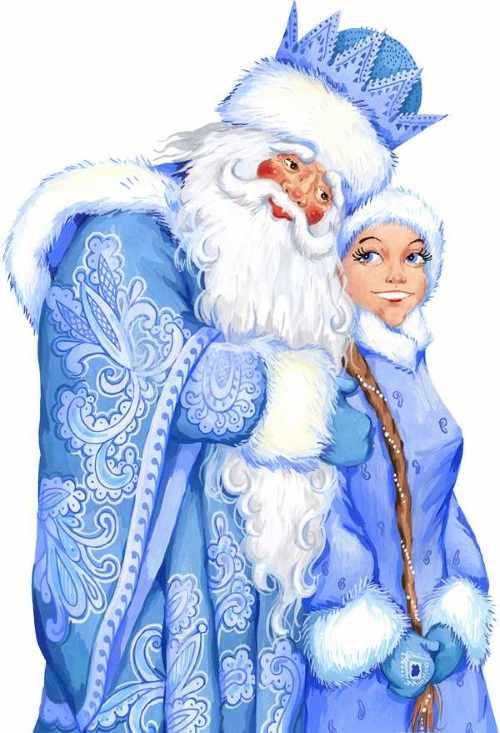 Дед Мороз и Снегурочка рисунок 8
