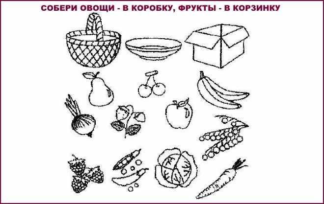 Собери овощи и фрукты