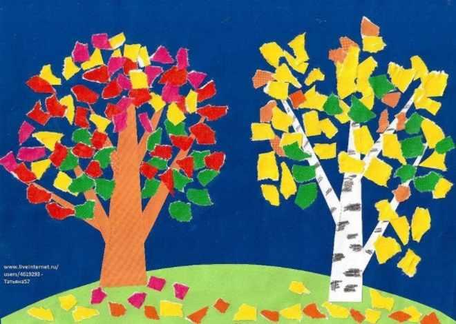 Аппликация осенние деревья из бумаги