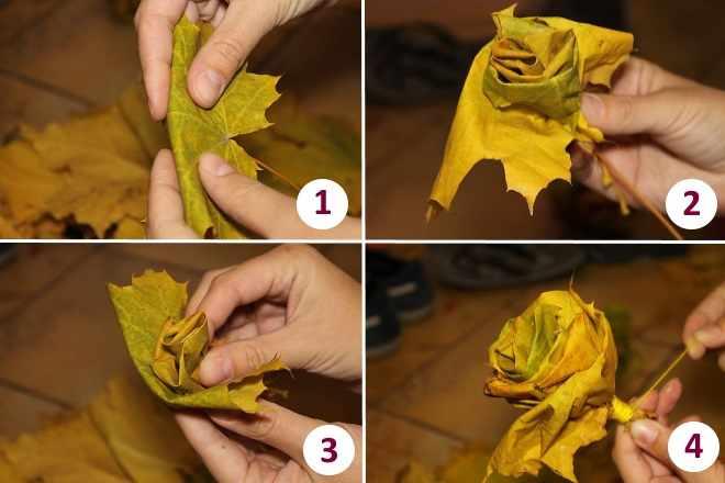 Роза из листьев по шагам
