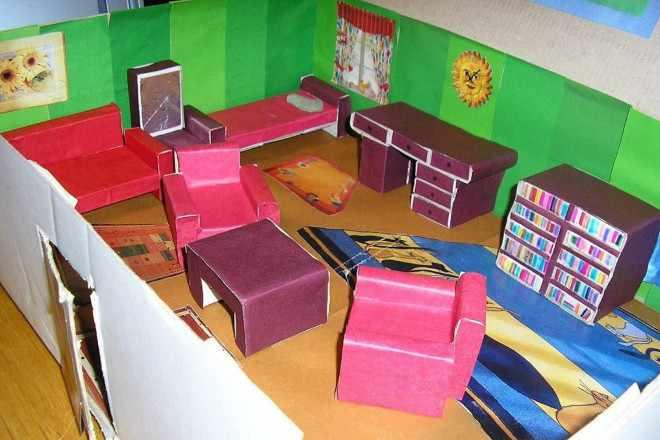 Поделка мебели из коробков