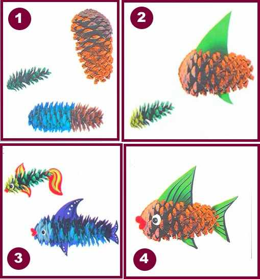 Рыбка из шишки пошаговые картинки