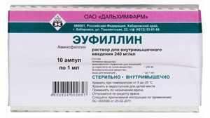 Эуфиллин инъекции - инструкция и показания к использованию