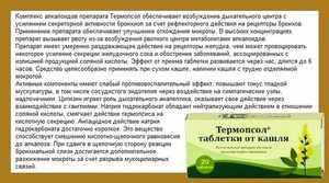 Таблетки от кашля Терсопсол